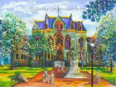 College Hall University of Pennsylvania Giclee canvas, Stretched canvas, giclee canvas print, canvas, print, canvas print, giclee print, giclee, University of Pennsylvania, College Hall University of Pennsylvania, Philadelphia, Pennsylvania, cityscape, painter, John Schmiechen, Schmiechen, historic, oil painting, painting, American impressionist, impressionist