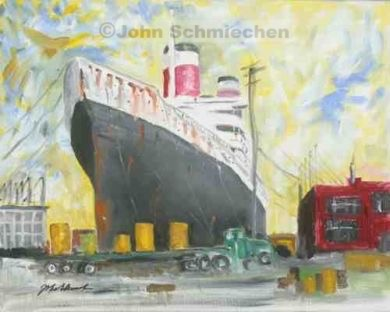 Riverfronts and Boats, Lady in Waiting, Philadelphia, Pennsylvania, cityscape, painter, John Schmiechen, Schmiechen, historic, oil painting, painting, American impressionist, impressionist