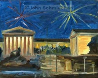 Museum on the 4th Giclee paper, Paper, giclee paper print, print, paper print, giclee print, giclee, Parkway and Museum District, Museum on the 4th, Philadelphia, Pennsylvania, cityscape, painter, John Schmiechen, Schmiechen, historic, oil painting, painting, American impressionist, impressionist