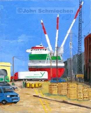 Philadelphia Docks Unloading the Wagenborg Note card, Note cards, notecard, note card set, notecard set, card, greeting card, greeting note card, greeting notecard, greeting note card set, greeting notecard set, Riverfronts and Boats, Philadelphia Docks Unloading the Wagenborg, Philadelphia, Pennsylvania, cityscape, painter, John Schmiechen, Schmiechen, historic, oil painting, painting, American impressionist, impressionist