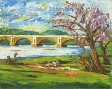 Picnic on the Schuylkill Note card, Note cards, notecard, note card set, notecard set, card, greeting card, greeting note card, greeting notecard, greeting note card set, greeting notecard set, Riverfronts and Boats, Picnic on the Schuylkill, Philadelphia, Pennsylvania, cityscape, painter, John Schmiechen, Schmiechen, historic, oil painting, painting, American impressionist, impressionist