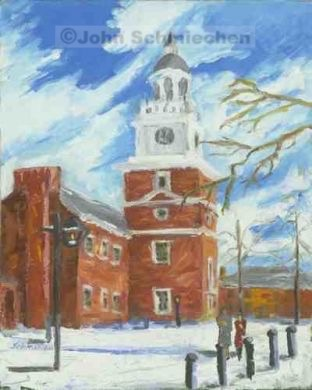 Historic District, Winter at Independence Hall, Philadelphia, Pennsylvania, cityscape, painter, John Schmiechen, Schmiechen, historic, oil painting, painting, American impressionist, impressionist